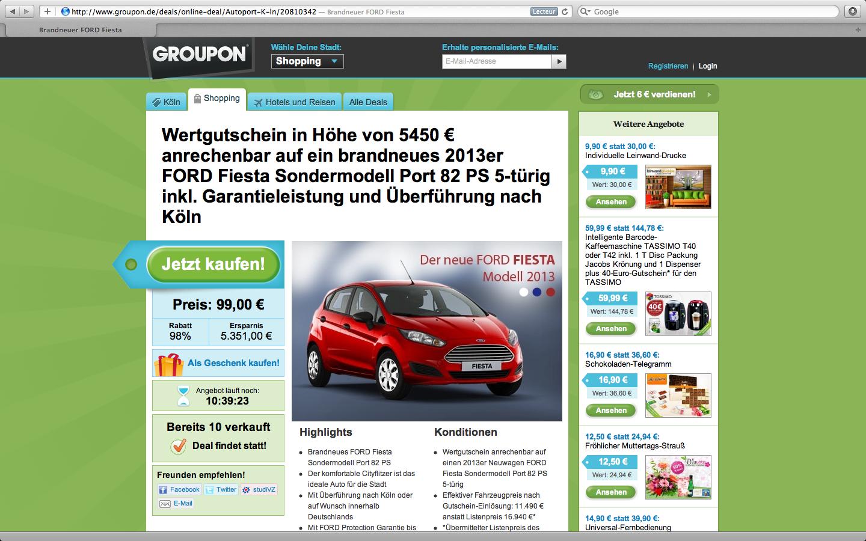 Des Ford Fiesta sur Groupon Allemagne