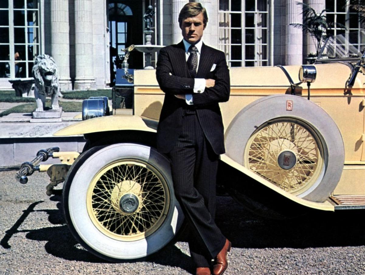 "Robert Redford devant la Rolls Royce Phantom de 1928 (impossible qu'elle fut la  ""vraie"" Rolls de Gatsby)"