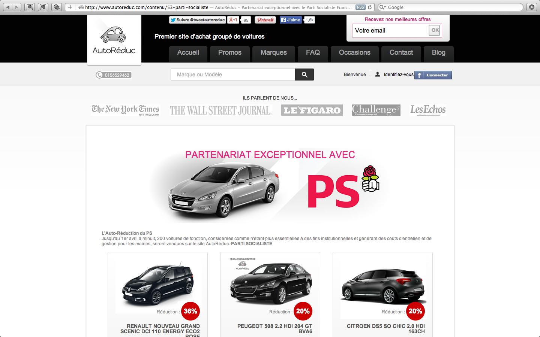 Le Parti socialiste, qui vient de perdre aux municipales, a décidé de se séparer sur Internet d'une partie de son parc automobile. I (Capture d'écran AutoRéduc)