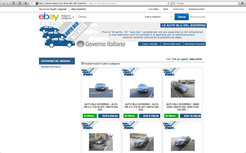 Le gouvernement italien a mis en vente 1500 berlines sur Ebay