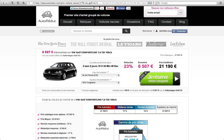 Une vente de voitures neuves avec coupon de réduction sur Autoreduc.com