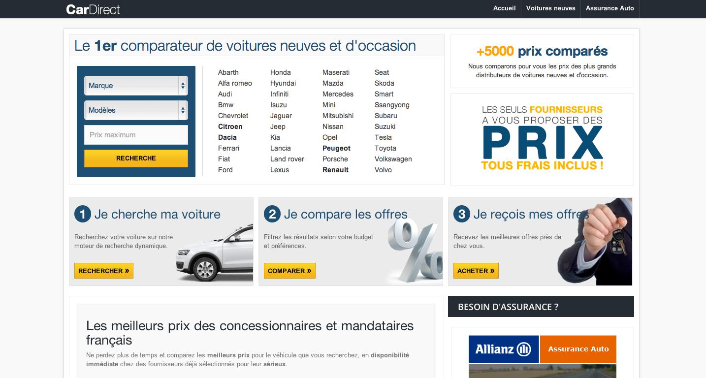 Le comparateur de prix CarDirect.fr