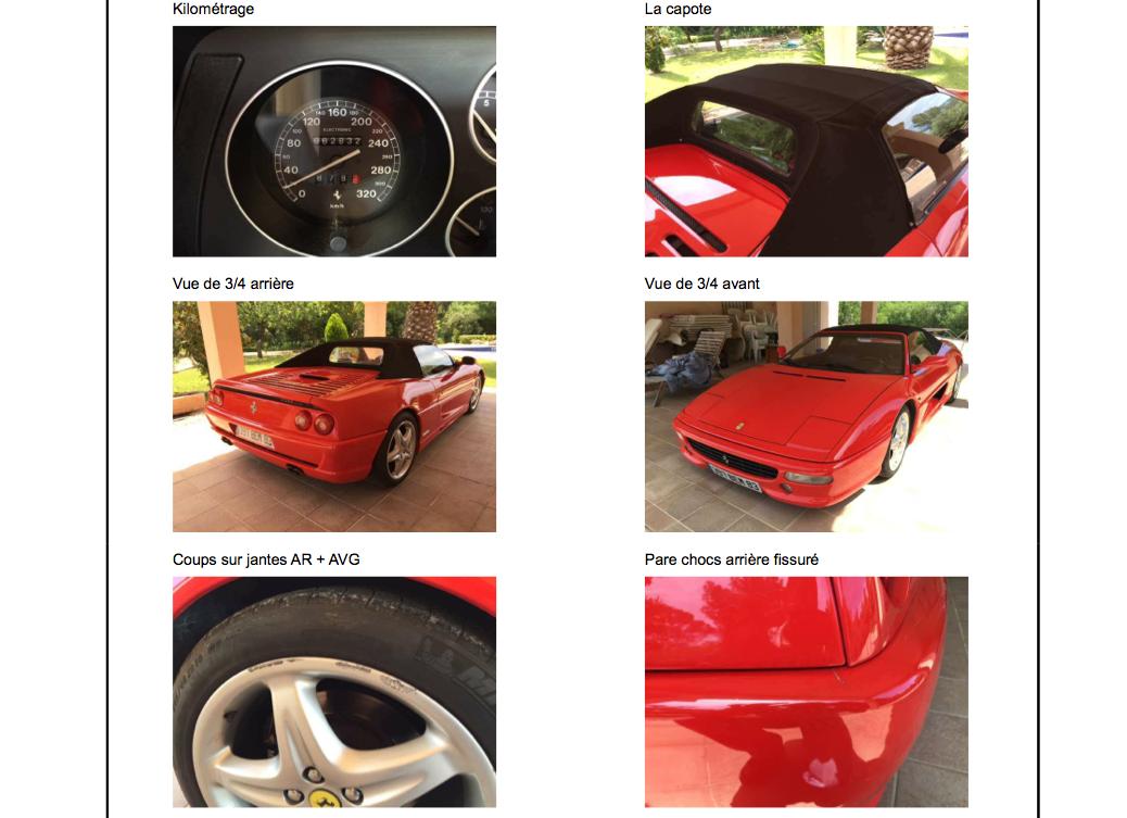 Expertise de Ferrari réalisée par AutoRéduc Occasions avec historique du véhicule, chiffrage de remise en état, essai routier et conformité administrative